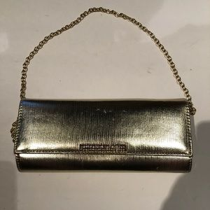 Aldo gold envelope clutch with chain strap